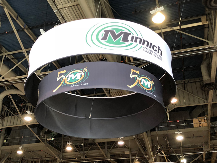 Round Trade Show Hanging Sign